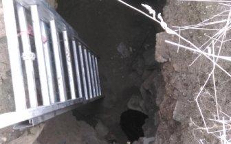 Керченские спасатели помогли спаси собаку из шестиметровой ямы.
